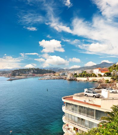 Photo for Panoramic view on Nice, France. beautiful mediterranean landscape. view of sea and luxury resort of Cote d'Azur in France - Royalty Free Image