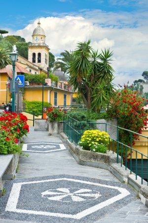 Street in Portofino village. Liguria, Italian Riviera