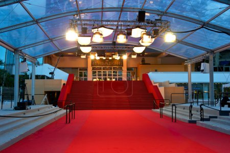 Photo for The famous red carpet steps of Cannes film festival Palais. French riviera, France - Royalty Free Image