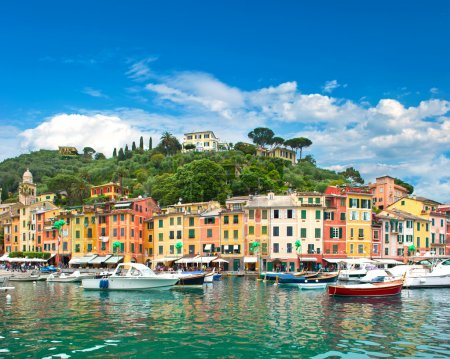 Famous Portofino village on Ligurian coast