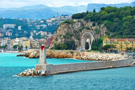 Photo for View of mediterranean resort, Nice, Cote d'Azur, France. french riviera. Front of harbor with lighthouse - Royalty Free Image