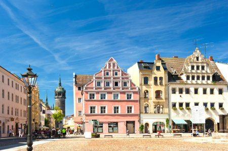 Market square in Wittenberg, main square of old german town.