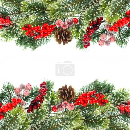 Photo for Christmas tree branch decoration with red berrries isolated on white background. - Royalty Free Image