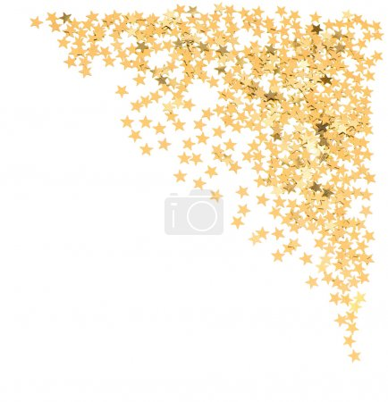 Golden confetti in star shape on white