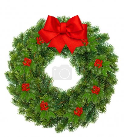 Photo for Traditional green christmas wreath with holly berry and red ribbon bow isolated on white background. festive decoration - Royalty Free Image