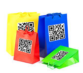 colorful shopping bags with QR code