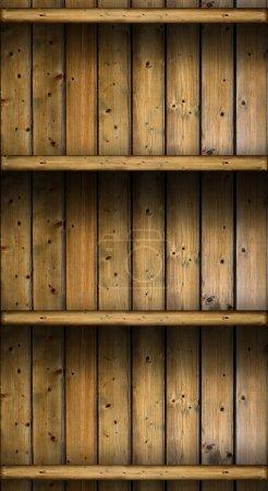 Photo pour Vintage rustique en bois étagères vides. fond grungy - image libre de droit