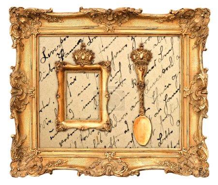 Old golden frame with vintage background