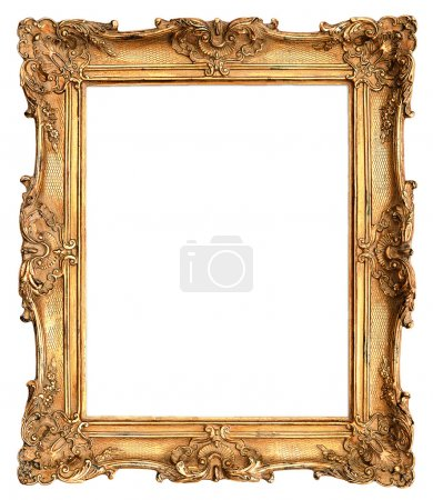 Photo for Antique golden frame isolated on white background - Royalty Free Image