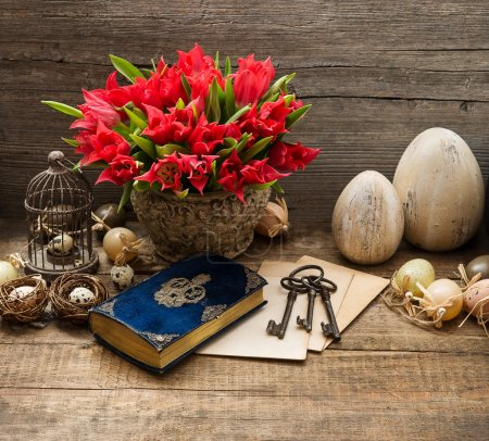 vintage decoration with eggs and tulip flowers