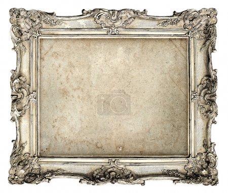 Photo pour Vieux cadre argenté avec grunge vide de toile pour votre photo, photo, image. beau fond vintage - image libre de droit