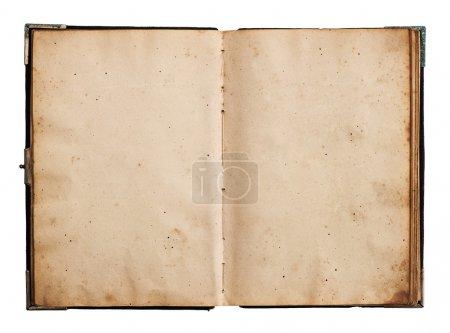 Foto de Abrir libro viejo aislado sobre fondo blanco con trazado de recorte - Imagen libre de derechos