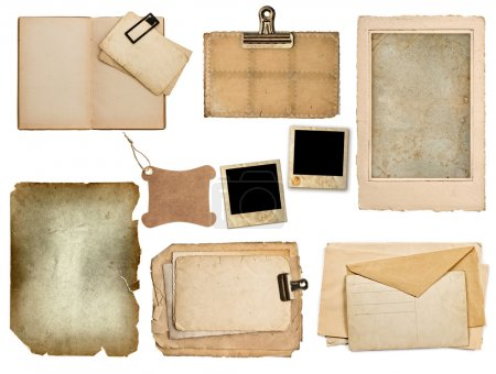 Set of old paper sheets, book, pages, cards