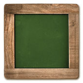 Square chalkboard with wooden frame isolated on white