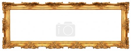 Long old golden frame isolated on white