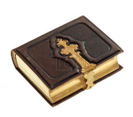 Photo pour Livre antique avec décoration dorée isolé sur fond blanc. album photo vintage avec couverture en cuir - image libre de droit