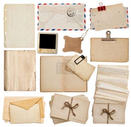 set of old paper sheets, book, envelope, postcards