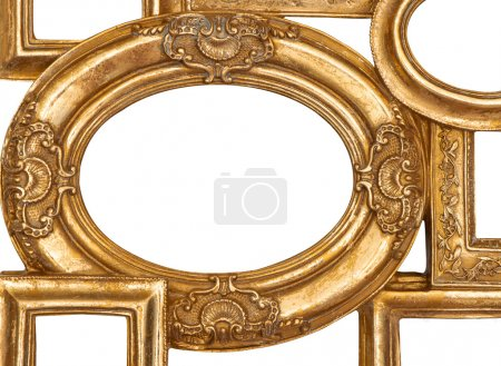 Detail of golden framework isolated on white