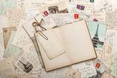 """Постер, картина, фотообои """"открыть пустой дневник книгу, старые письма, французские открытки. записки"""""""