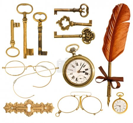 Photo for Set of golden vintage accessories. antique keys, clock, ink feather pen, nostalgic glasses isolated on white background - Royalty Free Image