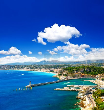 Photo for View of mediterranean resort, Nice city, Cote d'Azur, France. Turquoise sea and perfect blue sky - Royalty Free Image