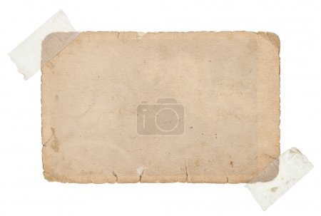 old grungy paper card with tape isolated on white