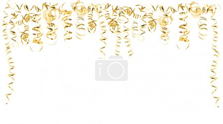 Photo pour Serpentine dorée banderoles isolées sur blanc. carnaval, décoration de fête. fond de vacances avec espace pour votre texte - image libre de droit