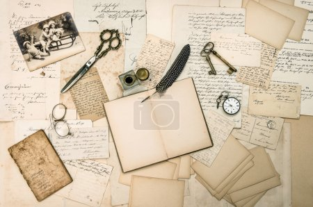 antique accessories, old letters and vintage christmas card