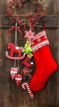 christmas stocking and handmade toys hanging