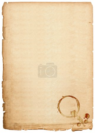 Photo for Old paper sheet isolated on white background. antique book page with coffee stains - Royalty Free Image
