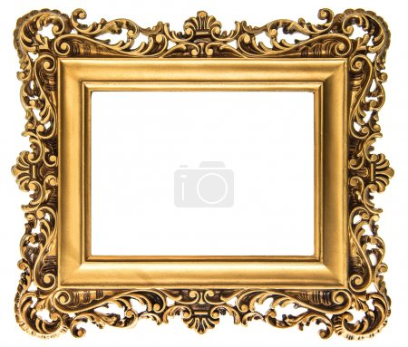 Vintage golden picture frame isolated on white