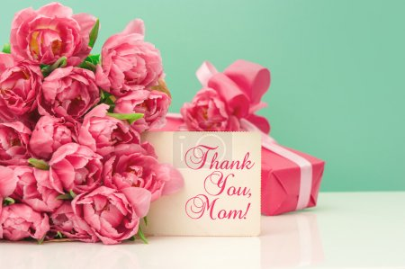 Pink tulips, gift ang greeting card