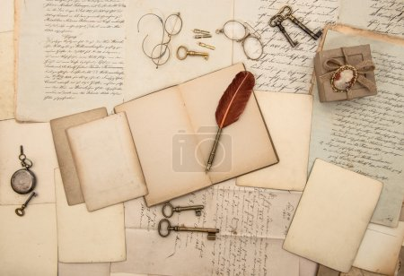 Photo for Vintage writing accessories, old papers, letters and keys. documents and manuscripts - Royalty Free Image