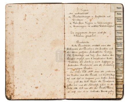 Photo pour Livre de recettes antique ouvert avec texte manuscrit, soupe à la viande en allemand, vers 1900 - image libre de droit