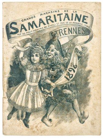 Photo pour Antiquaire publicité, couverture d'origine shopping catalogue la samaritaine, paris, france, vers 1898 - image libre de droit