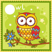 Illustrated alphabet letter O and owl