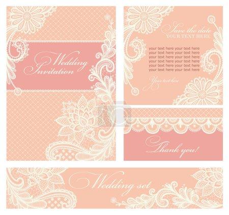 Illustration pour Ensemble d'invitations de mariage et d'annonces avec fond de dentelle vintage . - image libre de droit