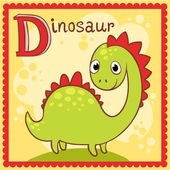 Illustrated alphabet letter D and dinosaur