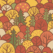 Seamless tree pattern with forest illustration in vector Background with autumn trees