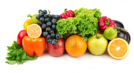 Photo for Set of different fruits and vegetables isolated on white background - Royalty Free Image