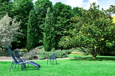 Spring park with spacious lawns