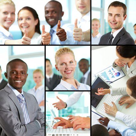 Photo for Collage of business at work and leaders - Royalty Free Image