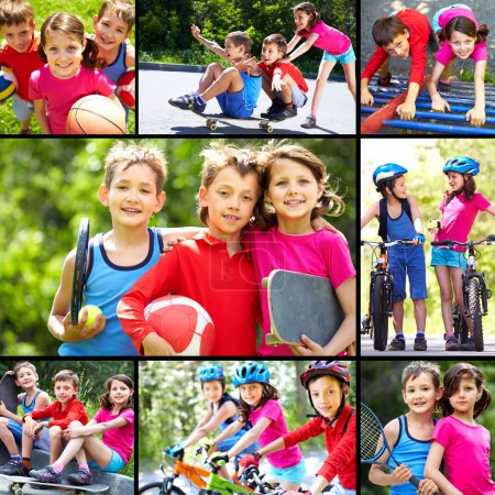 Photo for Collage of three happy children spending time outdoors - Royalty Free Image