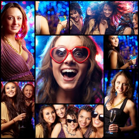 Photo for Collage of partying girls having fun in night club - Royalty Free Image