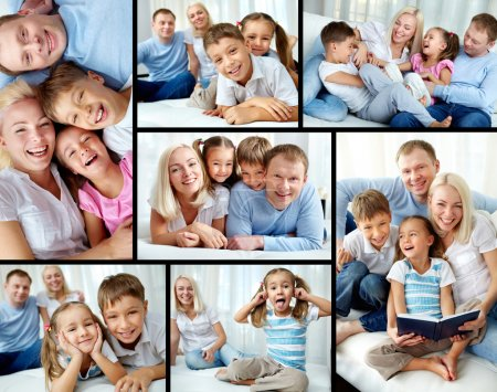 Photo for Collage of happy family resting at home - Royalty Free Image