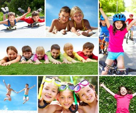 Photo pour Photo de happy kids passé l'été de façon active - image libre de droit