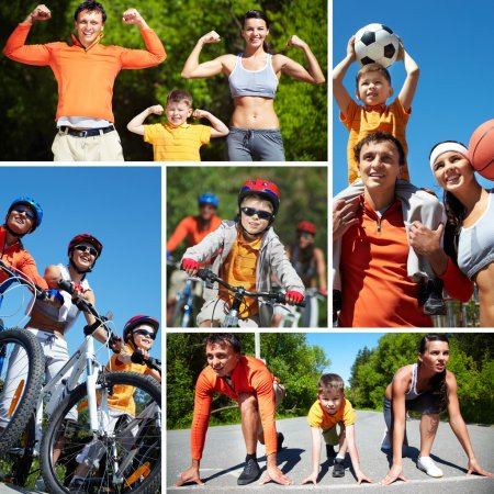 Photo for Collage of happy family going in for sports - Royalty Free Image
