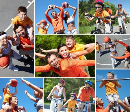 Photo for Collage of happy family at leisure in summer - Royalty Free Image