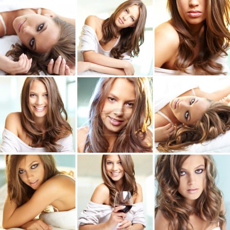 Photo for Collage of young woman posing in front of camera - Royalty Free Image