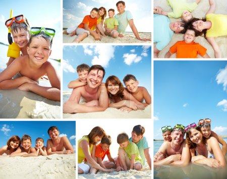 Photo pour Collage de la famille heureuse, passer des vacances d'été sur resort - image libre de droit